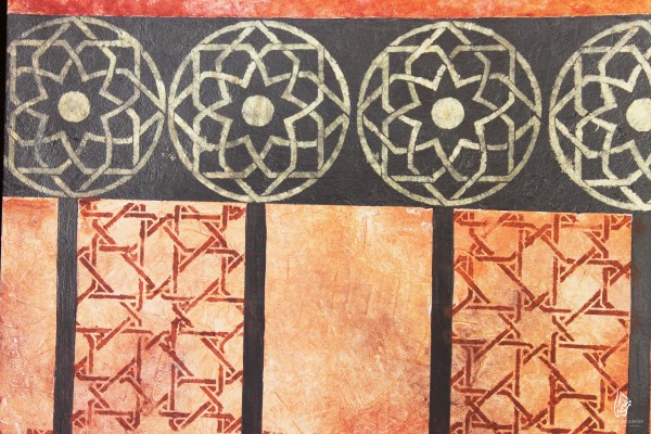geometric patterns present at the walls of the masjid
